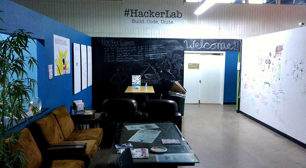 Hacker Lab's open lobby space